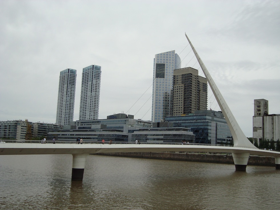 Puente de la Mujer. A footbridge in Puerto Madero. The bridge swings on its axis to let ships through