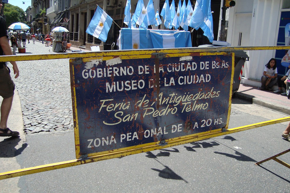 Every Sunday, Defensa is closed for a antiques market